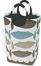 Hdadwy Whale Print 50L Large Laundry Basket with