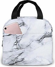 Hdadwy White Marble Portable Insulated Lunch