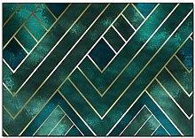 HE TUI Area Rug Nordic Luxury Dark Green Geometric