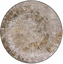 HE TUI Gray And Gold Round Rug Traditional Round