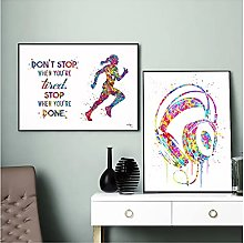Headphone Sport Runner Quote Watercolor Print