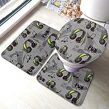 Headphones Bathmat,Abstract Headphones With