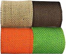 Healifty 4 Pcs 2M/Roll Burlap Ribbon Webbings