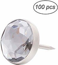Healifty Pack of 100 Crystal Upholstery Nails