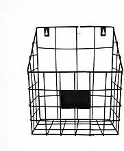 Healifty Wall Mounted Basket Rustic Metal Magazine