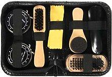HEALLILY Shoe Brush Wood Handle Boot Brush Metal