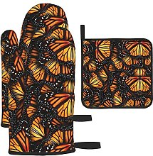 Heaps of Orange Monarch Butterflies Oven Mitts and