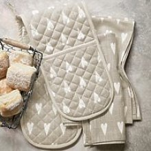 Heart Print Double Oven Gloves, White Natural, One