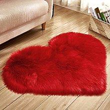 Heart Shaped Fluffy Rug Shaggy Floor Mat Soft Faux