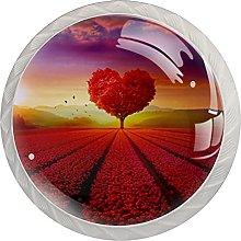 Heart Shaped red Flowers, Modern Minimalist