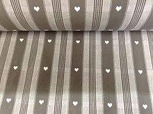 Heart Stripe Mouse Grey & White Cotton Curtain