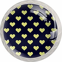 Heart Yellow Blue 4 Pieces Crystal Glass Wardrobe
