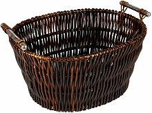 Hearth & Home Dark Wicker Basket With Chrome