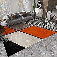 Hearth Rug Hallway Runner Orange black geometric