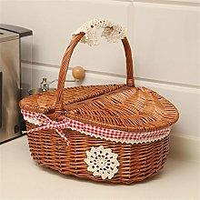 Hearthrousy Picnic shopping basket flip wicker