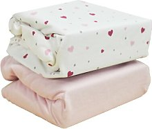 Hearts 2-Piece Fitted Cot Sheet Set HoneyBee
