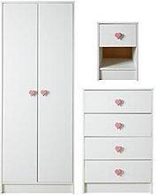 Hearts 3 Piece Childrens Bedroom Package - 2 Door
