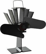 Heat Powered Stove Fan 2 Blades Black