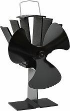 Heat Powered Stove Fan 3 Blades Black