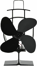Heat Powered Stove Fan 4 Blades Black