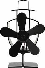 Heat Powered Stove Fan 5 Blades Black