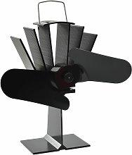 Heat Powered Stove Fan Black 2 Blades - Black -
