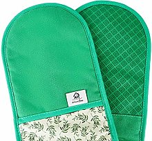 Heat Resistant Green Oven Gloves | Double Oven