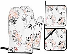 Heat Resistant Oven Mitts and Pot Holders 4 Pcs