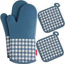 Heat Resistant Silicone Oven-gloves Oven Mitts + 2
