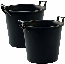 Heavy Duty Black Large Storage Bucket with Handles