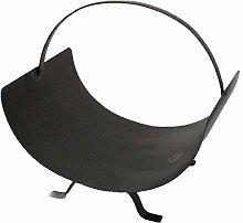 Heavy Duty Black Metal Fireplace Curved Log Holder