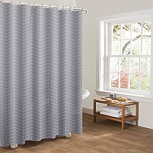 Heavy Duty Shower Curtain, Stripe Grey Waterproof
