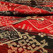Heavyweight Kilim Aztec Pattern Red Black Chenille