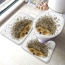 Hedgehog Bathmat,Watercolor Hedgehog Painting