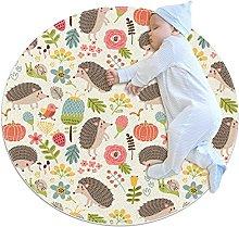 Hedgehog, Kids Round Rug Polyester Throw Area Rug