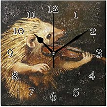 Hedgehog Music Violin Wall Clock Silent