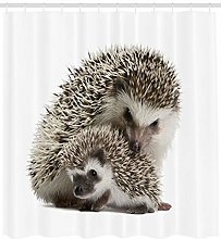 Hedgehog Shower Curtain Mother Children Love Print