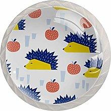 Hedgehog Yellow Blue CoralRound Glass knob White
