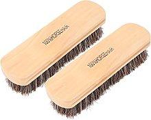 HEEPDD 2Pcs Shoe Brush Set, 6.7in Wooden Horsehair