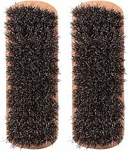 HEEPDD 2Pcs Wooden Horsehair Shoe Shine Brushes