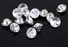 HEEPDD Crystal Buttons, 50Pcs Diamond Cut Clear