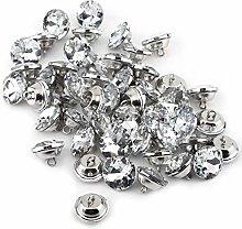 HEEPDD Diamond Buttons, 50pcs Crystal Rhinestone