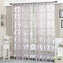 HEETEY 1 Pc Flower Sheer Curtain Tulle Blackout