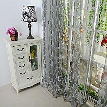 HEETEY Blackout Curtain Panel Leaf Sheer Curtain