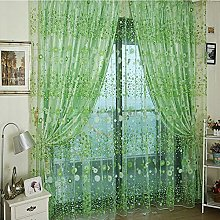 HEETEY Flower Sheer Curtain Tulle Window Treatment