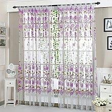 HEETEY Peony Sheer Curtain Tulle Window Treatment