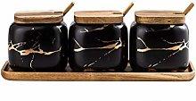 HEG-Spice Jars Marbled ceramic seasoning jar oil