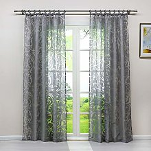 Heichkell Transparent Voile Curtain with Burnout