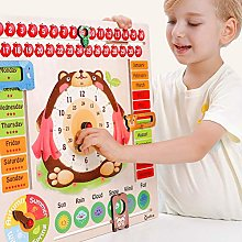 HEITIGN Kids Wooden Clock Toy, Cartoon Bear