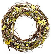 Heitmann Deco Wall Wreath with Wooden Flowers and Balls – Door Wreath, Room Decoration and Table Decoration for Spring and Summer